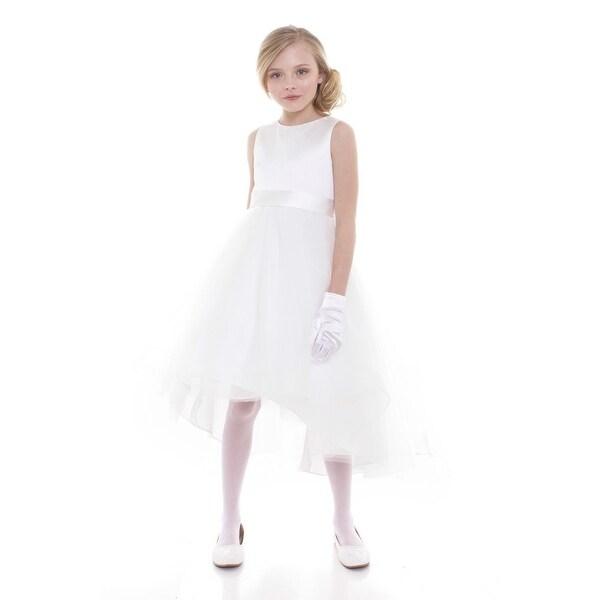 cfe058ba77 Girls White Satin Hi-Low Savannah Junior Bridesmaid Dress