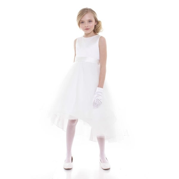 cdf63823899 Shop Petite Adele Little Girls White Satin Hi-Low Savannah Flower Girl Dress  - Free Shipping Today - Overstock - 18173931