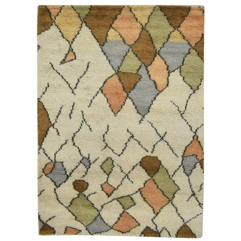 "One of a Kind Hand-Knotted Shag 4' x 6' Geometric Wool Cream Rug - 4'1""x5'10"""