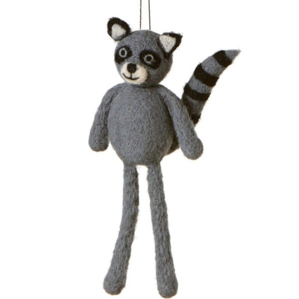 "7"" Fuzzy Wildlife Friends Gray Racoon with Dangling Legs Christmas Ornament"