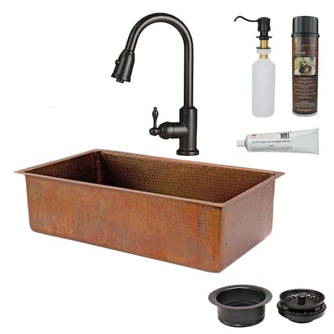 Premier Copper Products KSP2_KSB33199 Kitchen Sink, Pull Down Faucet and Accessories Package