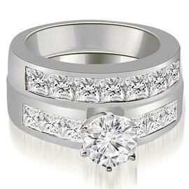 3.40 cttw. 14K White Gold Channel Set Princess Cut Diamond Bridal Set