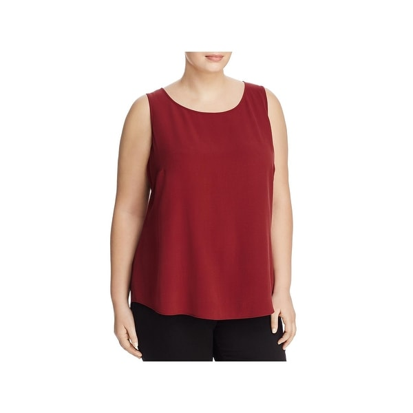 Eileen Fisher Womens Plus Shell Silk Ballet Neck