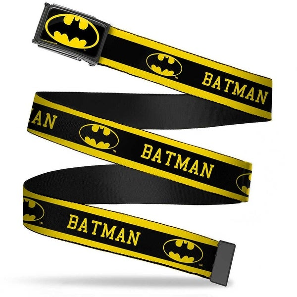 Batman Fcg Black Yellow Chrome Batman Logo Stripe Yellow Black Webbing Web Belt
