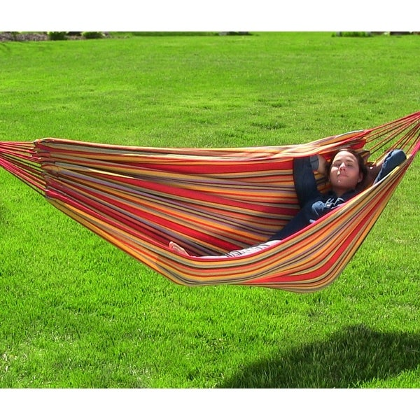 Sunnydaze Brazilian Double Hammock - 2-Person Portable Hammock Bed - Sunset