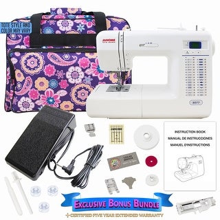 Janome 8077 Computerized Sewing Machine w/ Bonus Bundle