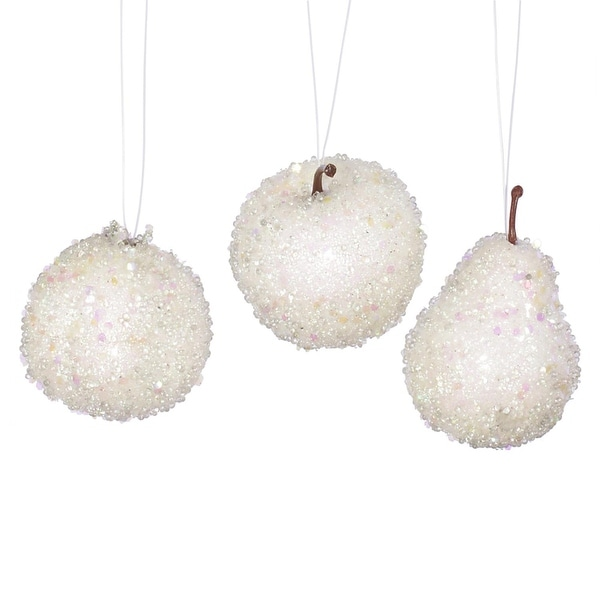 Set of 3 White Beaded Frozen and Glittered Apple, Pear, and Pomegranate Fruit Christmas Ornaments 3.25""