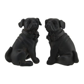 Adorable Brown Enamel Finish Pug Dog Bookends Set of 2