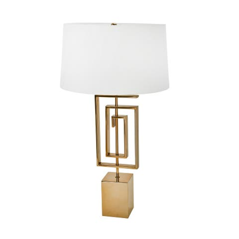 Block Base Geometric Metal Table Lamp with Shallow Tapered Drum Shade, Gold