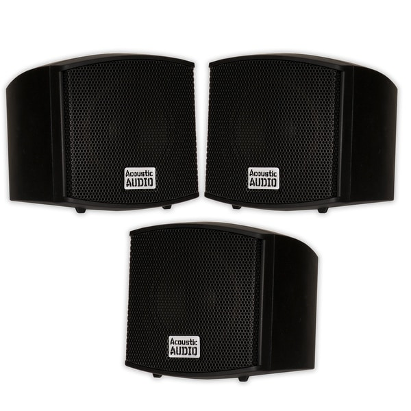 Acoustic Audio AA321B Mountable Indoor Black Speakers 600W 3 Piece Set AA321B-3S