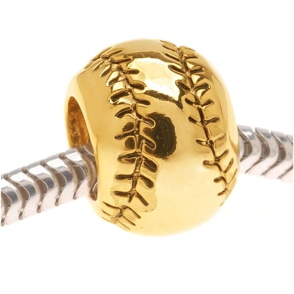 22K Gold Plated Baseball Or Softball - European Style Large Hole Bead (1)