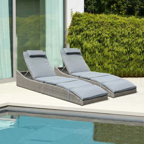 Outdoor Wicker Reclining Chaise Lounge with Cushion (Set of 2)