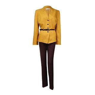Tahari Women's Roger Alaska Allure Belted Pant Suit (12, Mustard/Brown) - 12