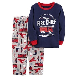 Carter's Baby Boys' 2-Piece Fire Chief Cotton & Fleece PJs, 12 Months