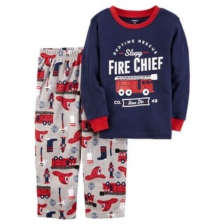 Carter's Baby Boys' 2-Piece Fire Chief Cotton & Fleece PJs, 18 Months