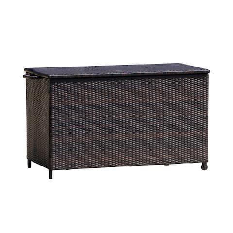 """52.75"""" Brown and White Contemporary Rectangular Outdoor Furniture Patio Storage Box"""