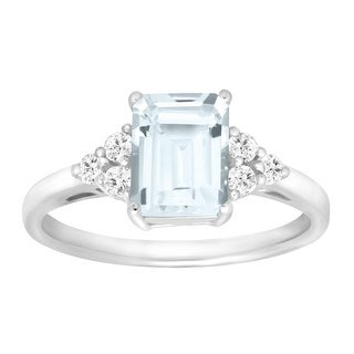 1 5/8 ct Natural Aquamarine & White Topaz Ring in Sterling Silver - Blue