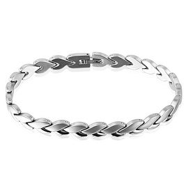 Linked Heart Matte and Glossy Twist Stainless Steel Bracelet  (8.1 mm) - 9 in