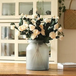 "G Home Collection Rustic PE French Rose Bloom Stem in White 25"" Tall (Set of 5)"