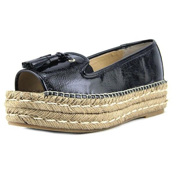 Adrienne Vittadini Parke Women Open Toe Patent Leather Black Platform Sandal