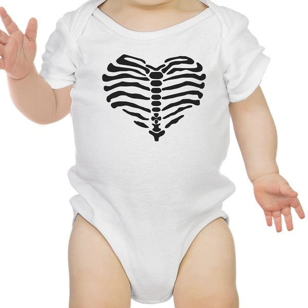 Heart Skeleton Bodysuit Baby Cute Graphic White Bodysuit Halloween