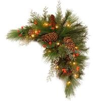 "30"" Pre-Lit Green and Brown Artificial Pine Christmas Swag - LED Lights"