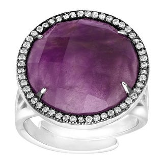 Natural Amethyst & Cubic Zirconia Ring in Sterling Silver - Purple