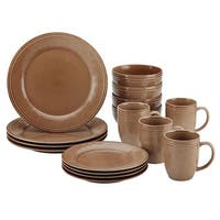 Rachael Ray 55097 Cucina Dinnerware 16-Piece Stoneware Dinnerware Set, Mushroom Brown