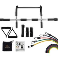 Wacces Upper Body Workout Bar for Pull up Chin up + 5 Resistance Bands