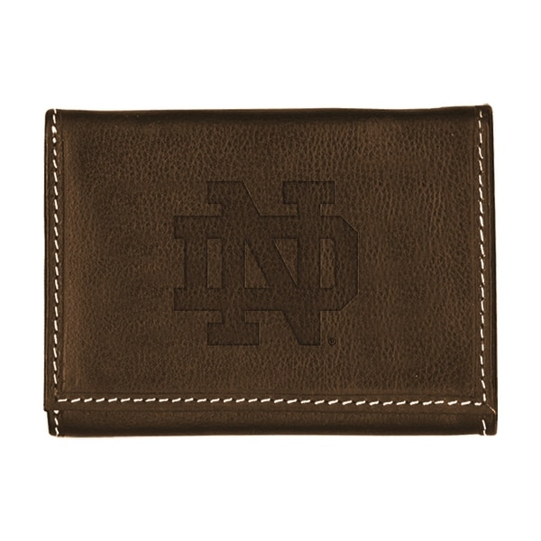 University of Notre Dame Contrast Stitch Trifold Leather Wallet