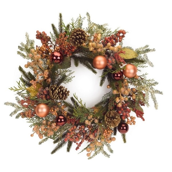 "24"" Red and Bronze Berry, Pine Cone and Ball Ornament Artificial Christmas Wreath - Unlit - ORANGE"