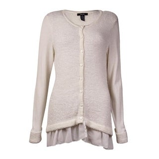 Alfani Women's Eyelash Chiffon Trim Cardigan Sweater