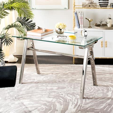 SAFAVIEH Couture Elza Glass Top Metal Desk - Silver