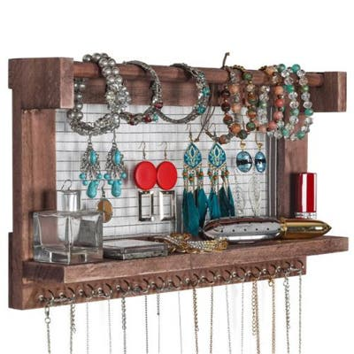 Wall Mounted Framed Jewelry Stand With Detachable Bracelet Shelf - N/A