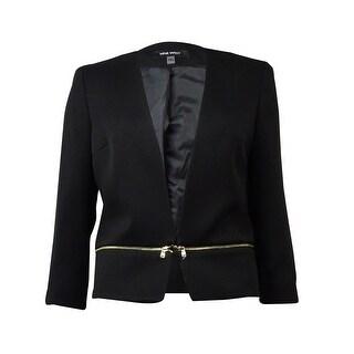 Nine West Women's Solid Zipper Waist Open Front Blazer