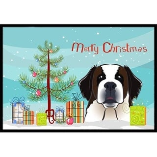 Carolines Treasures BB1618JMAT Christmas Tree & Saint Bernard Indoor or Outdoor Mat 24 x 36