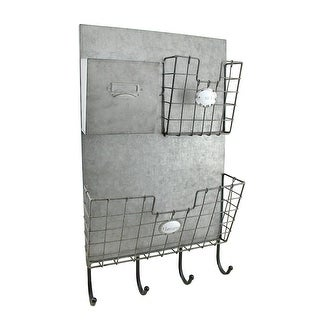 Rustic Metal 3 Compartment Mail Center Wall Organizer with Key & Coat Hooks - 23 X 13.75 X 4 inches