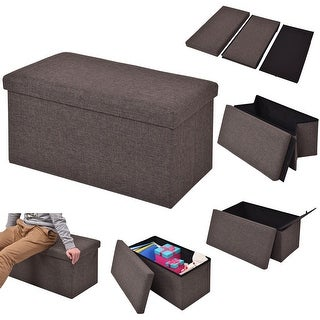 Costway Folding Rect Ottoman Bench Storage Stool Box Footrest Furniture Home Decor Brown