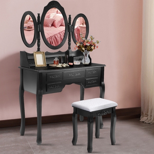 Shop Costway Black Tri Folding Oval Mirror Wood Vanity