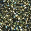 True2 Czech Fire Polished Glass, Faceted Round 2mm, 50 Pieces, Olive Gold Rainbow - Thumbnail 0