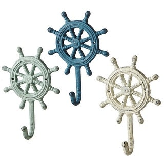 Set of 6 Green, Blue and Off White Distressed Finish 3 Assorted Ship Wheel Wall Hook 7""