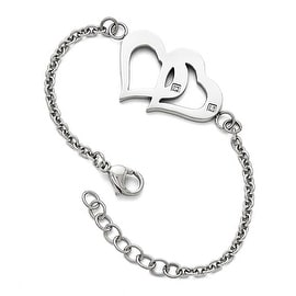 Chisel Stainless Steel Polished Hearts with CZs with 1.25in. ext. Bracelet