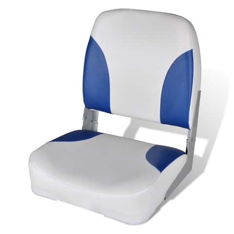 "vidaXL Boat Seat Foldable Backrest with Blue-white Pillow 16.1""x14.2""x18.9"""