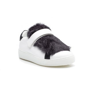 MONCLER Lucie Women's Fur Trim Low Top Rubber Flat Sneaker White