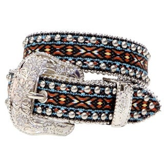 Angel Ranch Western Belt Girls Kids Fabric Studs Crystals Brown A5060