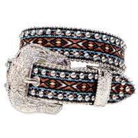 Angel Ranch Western Belt Girls Kids Fabric Studs Crystals Brown