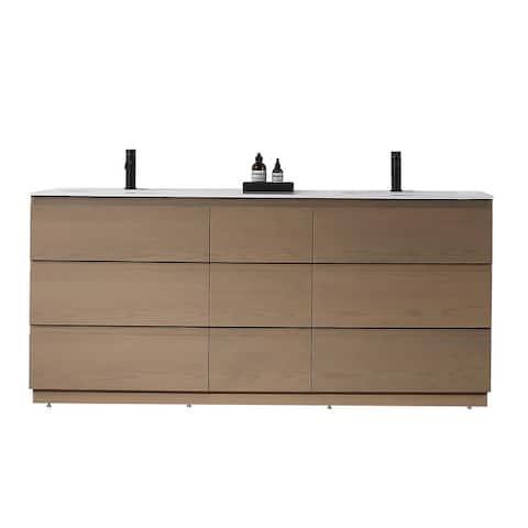 RBOS 72-inch Golden/Charcoal Freestanding Modern Bathroom Vanity Set