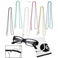 JAVOedge 6 Pack of Decorative Beaded Eyeglasses/ Glasses Lanyard (Black, Silver, Blue, Pink, Green, Yellow)
