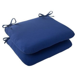 Set of 2 Traditional Navy Blue Outdoor Patio Rounded Seat Cushions 18.5""
