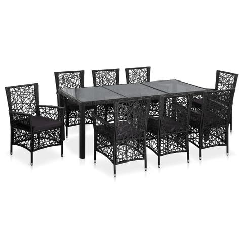 vidaXL 9 Piece Outdoor Dining Set Poly Rattan Black